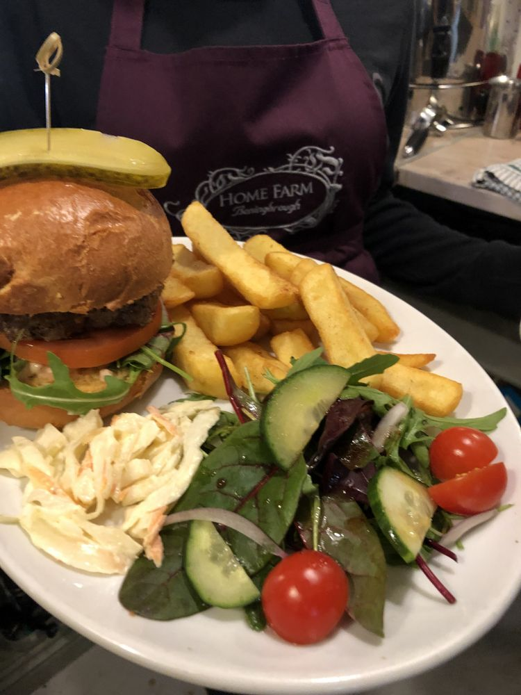 Homemade burger and hand cut chunky chips